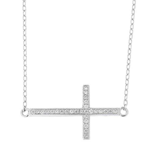 Beauniq Solid Sterling Silver Rhodium Plated Cubic Zirconia Large Sideways Cross Pendant Necklace, 15-17