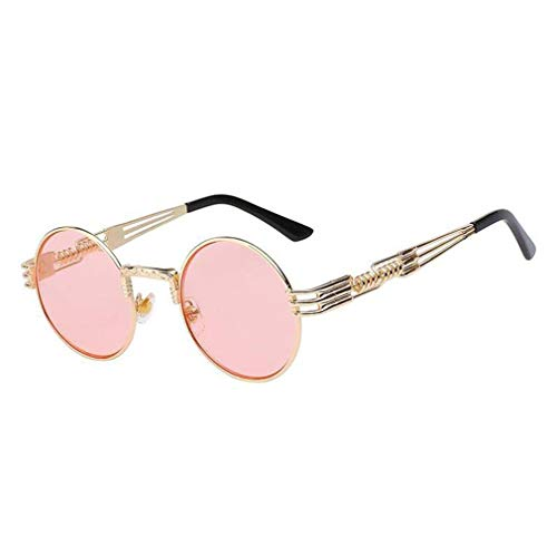 Round Pink Venetian Mirror - Retro Round Steampunk Sunglasses UV400 Protection Lunette Gold Metal Spring Sun Glasses For Men Cool Circle Mirror Shades pink lens gold