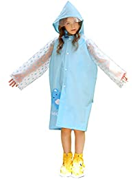 Kids Fashion Rain Poncho Raincoat with Hood and Sleeves Reusable for Ages 5 – 14 Girls Boys