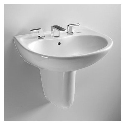 Prominence Wall-Mount Bathroom Sink Finish: Cotton, Faucet Mount: Single (Cotton Prominence Bathroom Sink)