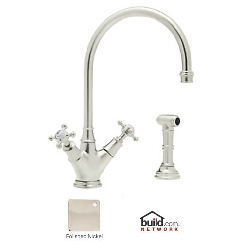 Rohl U.4707X-PN-2 Perrin and Rowe Double Handle Minoan Kitchen Faucet with Side Spray Rinse, Polished Nickel