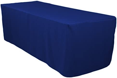 185 & 8\u0027 Ft. Fitted Polyester Tablecloth Trade Show Booth Dj Table Cover Royal Blue