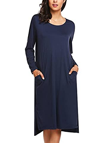 HOTOUCH Women's Long Sleeve Midi Irregular Dress Round Neck With Pocket Navy Blue M SIZE (Midi Cotton Dress)