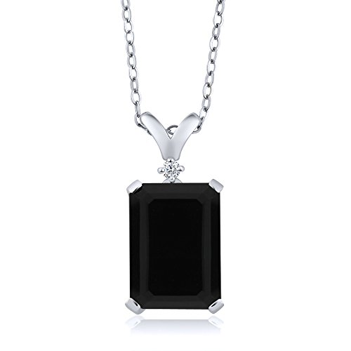 5.02 Ct Emerald Cut Black Onyx & White Diamond 925 Sterling Silver Pendant With 18 inch Silver Chain