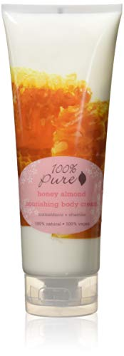 100% Pure: Honey Almond Nourishing Body Cream, 8 oz, Concentrated with Potent Anti Aging Antioxidants, Vitamins, Skin Softening Fruit Oils and Moisturizing Cocoa and Avocado Butters ()
