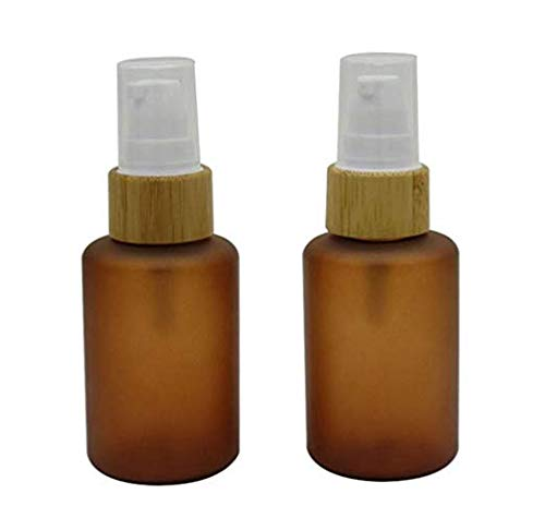 2Pcs 60ml/2oz Empty Refillable Amber PET Bottle With Bamboo Pump Head Brown Emulsion Lotion Cosmetic Container Jars Travel Packing Case Box (BPA Free)For Makeup Essential Oil Shower Gel Cream Shampoo