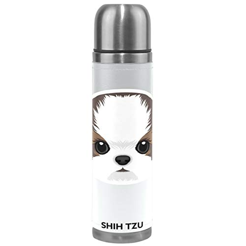Wamika Cute Dog Pattern Vacuum Insulated Stainless Steel Water Bottle, Shih Tzu Puppy Funny Pets Animals Sports Coffee Travel Mug Thermos Cup Genuine Leather Cover Double Walled BPA Free 17 OZ by Wamika