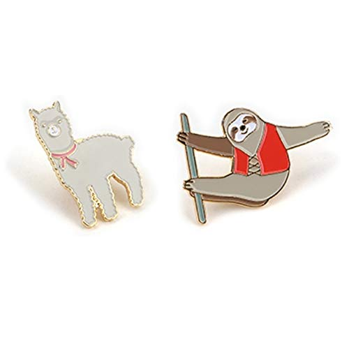 - Cute Metal Brooch Pins Lapel Pins Badge for Women Girls for Clothing Bag Decor (Alpaca&Sloth)