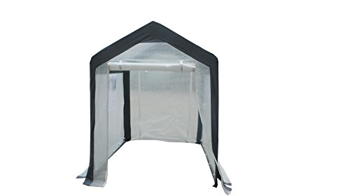 Greenhouse-Spring Gardener Peak Roof Walk In Portable Garden Hot House Fully Enclosed – Screend Windows for Ventilation, Zippered Door (5'W x 6'L x 6.6'H) Small Hobby Greenhouse for decks, patios, porches, backyards