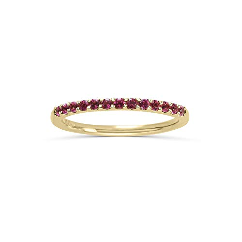14K Yellow Gold 1/5 Cttw Genuine Pink Tourmaline Stackable 2MM Wedding Anniversary Band Ring - October Birthstone, Size 6.5 (Diamond And Tourmaline Rings)