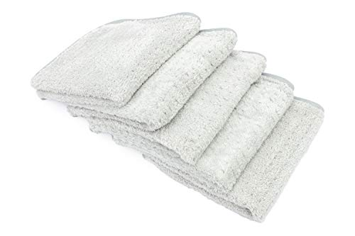 THE RAG COMPANY (5-Pack 16 in. x 16 in. Platinum PLUFFLE Professional Korean 70/30 480gsm Plush Waffle Microfiber Detailing Towels ()