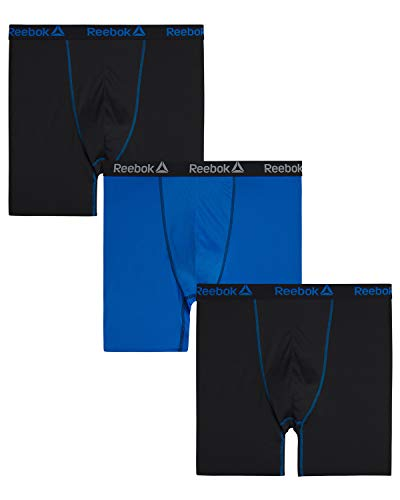 Reebok Mens 3 Pack Athletic Compression Performance Boxer Briefs (Big & Tall), Black/Blue/Black, Size 2XL'