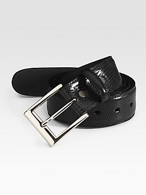 Torino Leather, Men's Belt, Ringmark Lizard, Black, 34