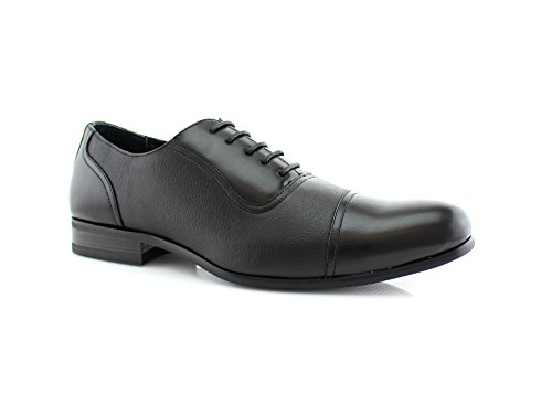 Ferro Aldo Men's Black Dress Shoes Cap Toe Lace up Oxfords 19339 (Toe New Black Tuxedo Shoes)
