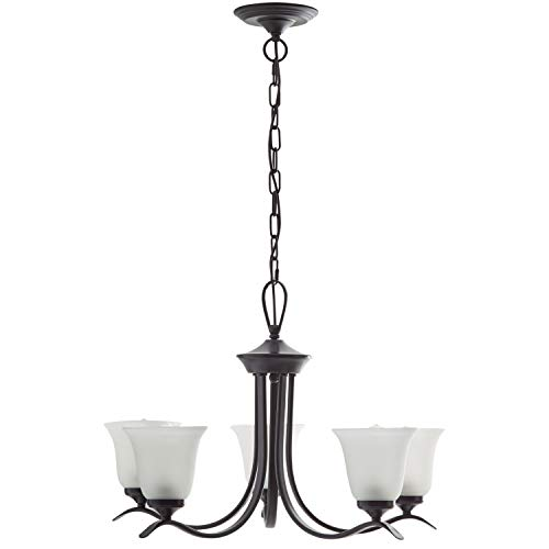 - Ravenna Home Contemporary Modern 5 Light Chandelier With 5 White Shades - 26 x 26 x 40 Inches, Matte Black
