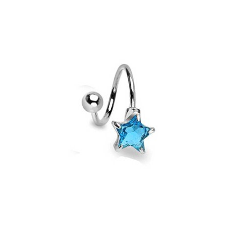 Aqua Blue Star Cubic Zirconia CZ Twist Bar Navel Belly Ring for Women 316L Stainless Steel Aqua Cubic Zirconia Star