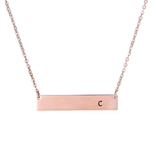 (FFJGO Rose Gold Initial Bar Necklace Hand Stamped Name Necklace A-Z Letter Pendant Bridesmaid Jewelry)