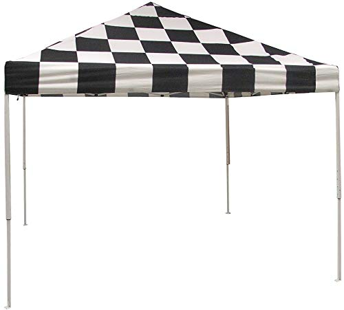(ShelterLogic Easy Set-Up 10 x 10-Feet Straight Leg 50+ UPF Protection Pop-Up Canopy with Roller Storage Bag for the Beach, Park, Tailgating, and Other Outdoor Activities, Checkered Flag)