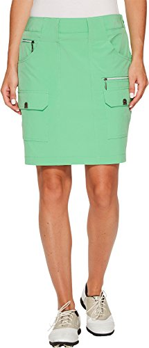 2 Button Stretch Skort (Jamie Sadock Women's Airwear Light Weight 18 in. Skort Emerald 2 4)