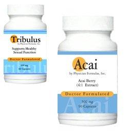 Acai gratuit, 500mg, 90 capsules w / extrait de Tribulus terrestris, Homme Libido amélioration de la performance et de pilule Sex Aphrodisiaques pour hommes, 400 mg, 60 Capsules - Approuvé par l'auteur de Boosters sexuels naturels, le Dr Ray sahélienne, M