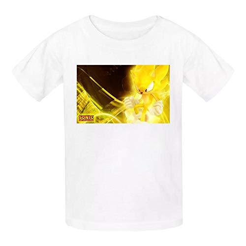 Kgtbckg Kids T Shirt Son-ic Hedge-hog Game Print Short Sleeves Shirt Top Tees for Girl Boy White (Sonic The Hedgehog Evolution Of A Hero)