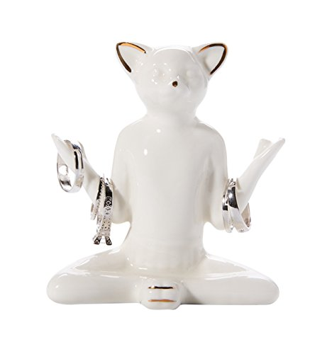 WANYA Ceramic Ring Jewelry Tower Decor Organizer, White Yoga Cat Jewelry Holder by WANYA