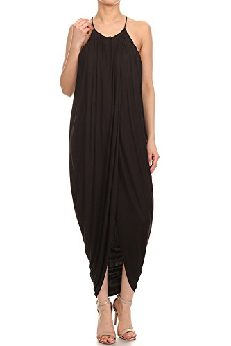 12 Ami Solid Layered Drape Midi Dress Black S