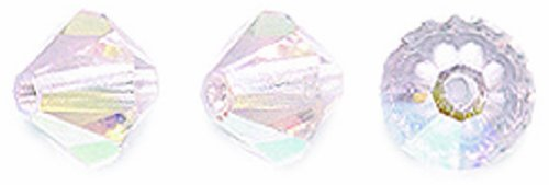 Preciosa 72-Piece Czech Crystal Bicone Beads, 6 by 6mm, Light Rose Aurora Borealis (6 Mm Bicone Rose)