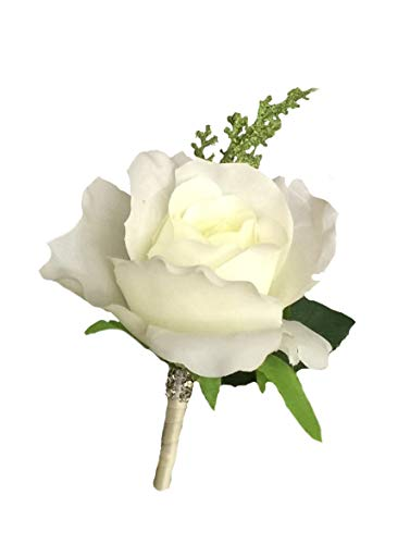 Isabella Cream - Angel Isabella Boutonniere -Nice Cream Rose with Greenery Ribbon Wrapped Stem