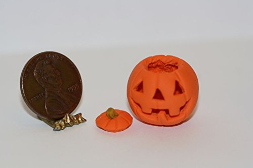 Lorraine Adinolfi Dollhouse Miniature Carved Halloween Happy Jack Pumpkin in 1:12 -