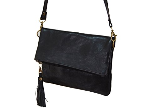 Zayo Vintage Leather Leather Simple Handmade Woman Bag Black v8WITwqvrx