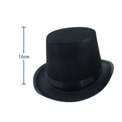 Pcongreat Creative Halloween Magician Magic Felt Top Hat Jazz Cap Masquerade Party Costume Props - Black