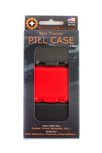 Slim Traveler Pill Box - small pill case for travel, purse, bag, pocket (3 Pack, Grey, Red, Black) by Medicine Gear (Image #2)