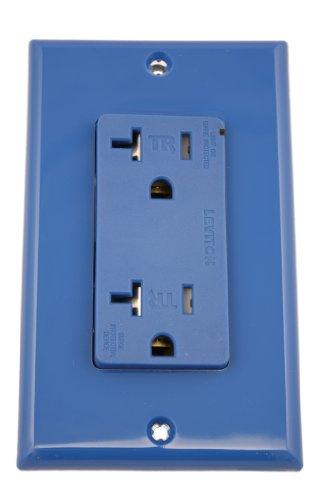 Leviton T5380-B 20 Amp, 125 Volt, Tamper Resistant, Decora Plus Duplex Surge Suppressor Receptacle, Straight Blade, Commercial, Self Grounding, Blue