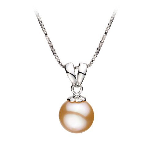 [Sally Pink 9-10mm AA Quality Freshwater 925 Sterling Silver Cultured Pearl Pendant] (Easy Sally Costumes)