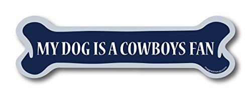 My Dog is a Cowboys Fan Dog Bone Car Magnet Decal- 2 x 7 Dog Bone Heavy Duty for Car Truck SUV - Tackle Magnet