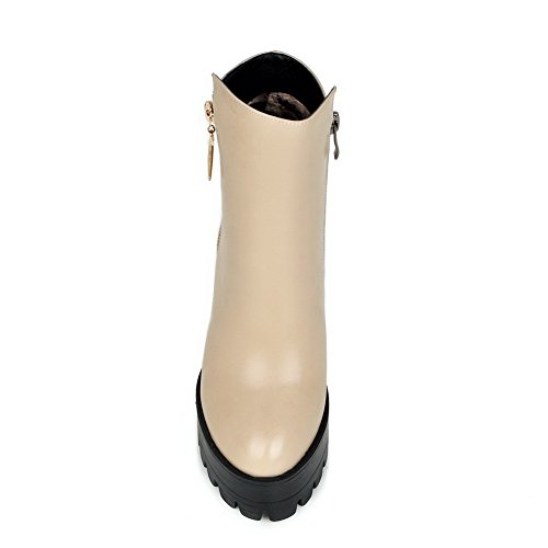 Platform With Curves Round High AmoonyFashion Heels Womens and Style Beige Closed Toe Toe Boots 8zqHqw6