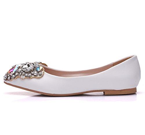 Minishion Womens Bow Rhinestones Satin Slip-on Wedding Party Dress Ballet Flats White-flat n50f5GA8