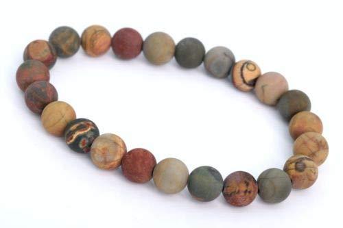 (8mm Matte Picasso Jasper Bracelet Grade Natural Round Gemstone Beads 7'' Crafting Key Chain Bracelet Necklace Jewelry Accessories Pendants)