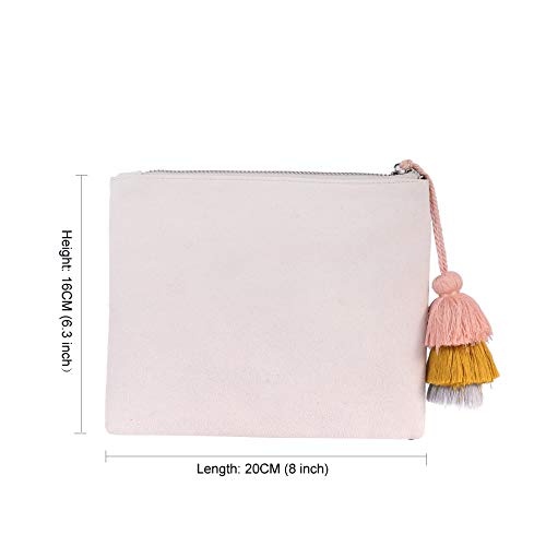 Vegan Casual for Faux Tassel Ivory Suede Purse 04 Accent with Pouch Handbag Women Clutch Bag CqB8XwX