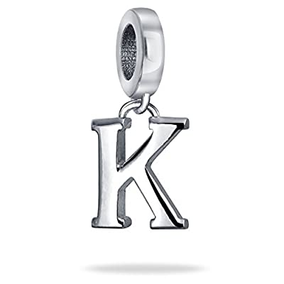 Bling Jewelry 925 Sterling Silver Alphabet Block Letter K Dangle Bead save more