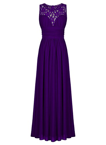 VaniaDress Women A Line Lace See-Through Long Bridesmaid Dress Formal Gowns V285LF Plum US24W from VaniaDress