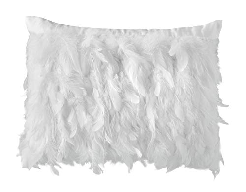 Filled Kylie Minogue Avellino Oyster Faux Feathers Satin 35cm x 45cm Cushion Pillow Case Sham ()