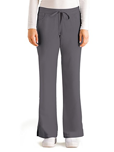 Nickel Grey Apparel - Grey's Anatomy Women's Junior-Fit Five-Pocket Drawstring Scrub Pant - XX-Small Petite - Nickel