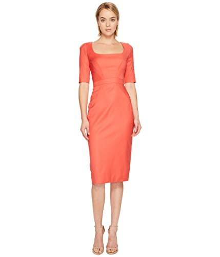 Zac Posen Women's Tropical Wool Short Sleeve Scoop Neck Dress Apricot 8 -