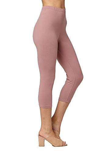 - Premium Ultra Soft Womens High Waisted Capri Leggings - Cropped Length - Solid - Mauve Pink - Small/Medium (0-12)