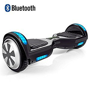 """VEEKO Hoverboard 6.5"""" Two Wheel Smart Self Balancing Scooter with Bluetooth Speaker, Black, Safe UL2272 Certified, Fun Cool Top LED Flashing Light and Front LED Light, for Adults and Kids"""