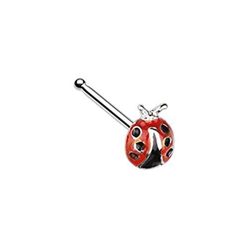 "Dainty Ladybug Freedom Fashion 316L Surgical Steel Nose Stud Ring (20 GA, 9/32"", Steel)"