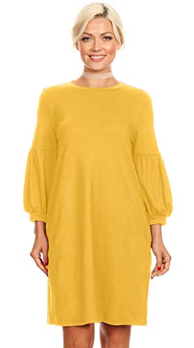 (Womens Long Puff Sleeves reg and Plus Size Dresses with Side Pockets - Made in USA (Size Large US 10-12, Mustard))