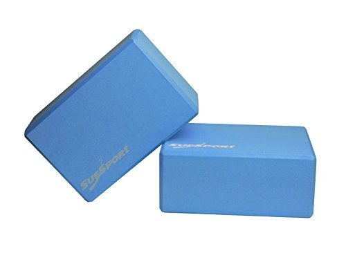 """Set of 2 SUESPORT Yoga Blocks, Large Size 9"""" x 6"""" x 4"""" , Available in 4 Colors, High Density Quality Foam"""
